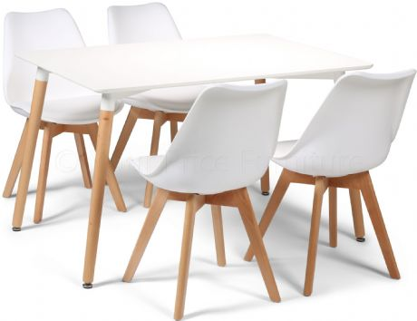 Toulouse Tulip Eiffel Designer Dining Set White Rectangular Table & 4 White Chairs Sale Now On Your Price Furniture